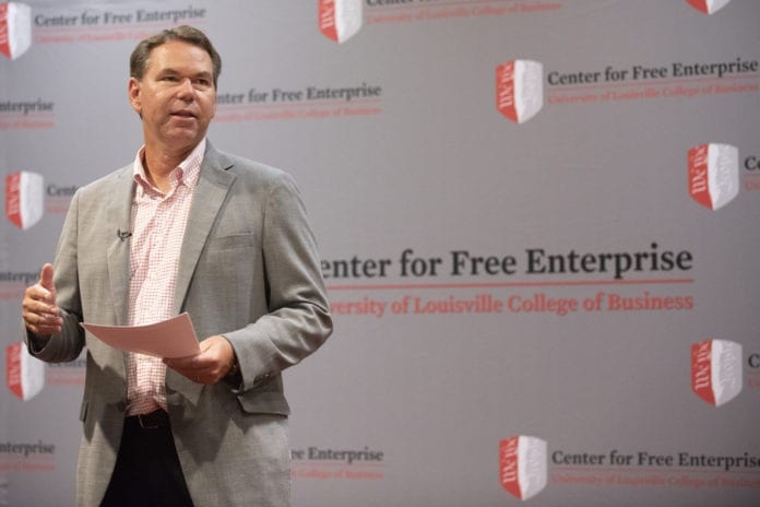 Vince Tyra speaks at the College of Business Center for Free Enterprise, Sept. 12, 2018.