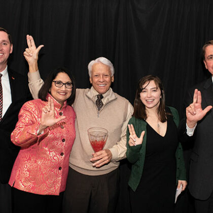 Left to right: Josh Hawkins, AVP Alumni Relations, President Neeli Bendapudi, Ray Loyd '68, Bella Beilman '22, and Dean Todd Mooradian