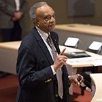 Entrepreneur Clifton Taulbert presenting in the PNC Horn Auditorium