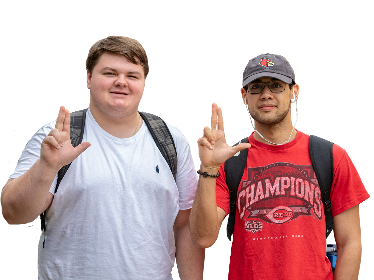 Two students with their L's up