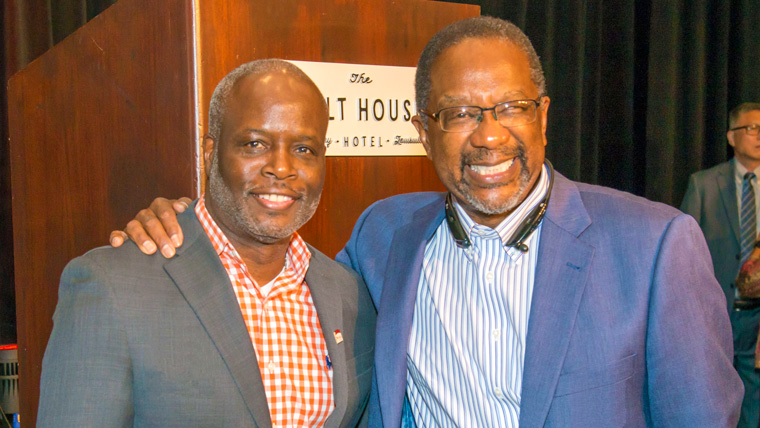 PMBA Student Dwight Brown with Dr. Nat Irvin at PMBA commencement May 2021