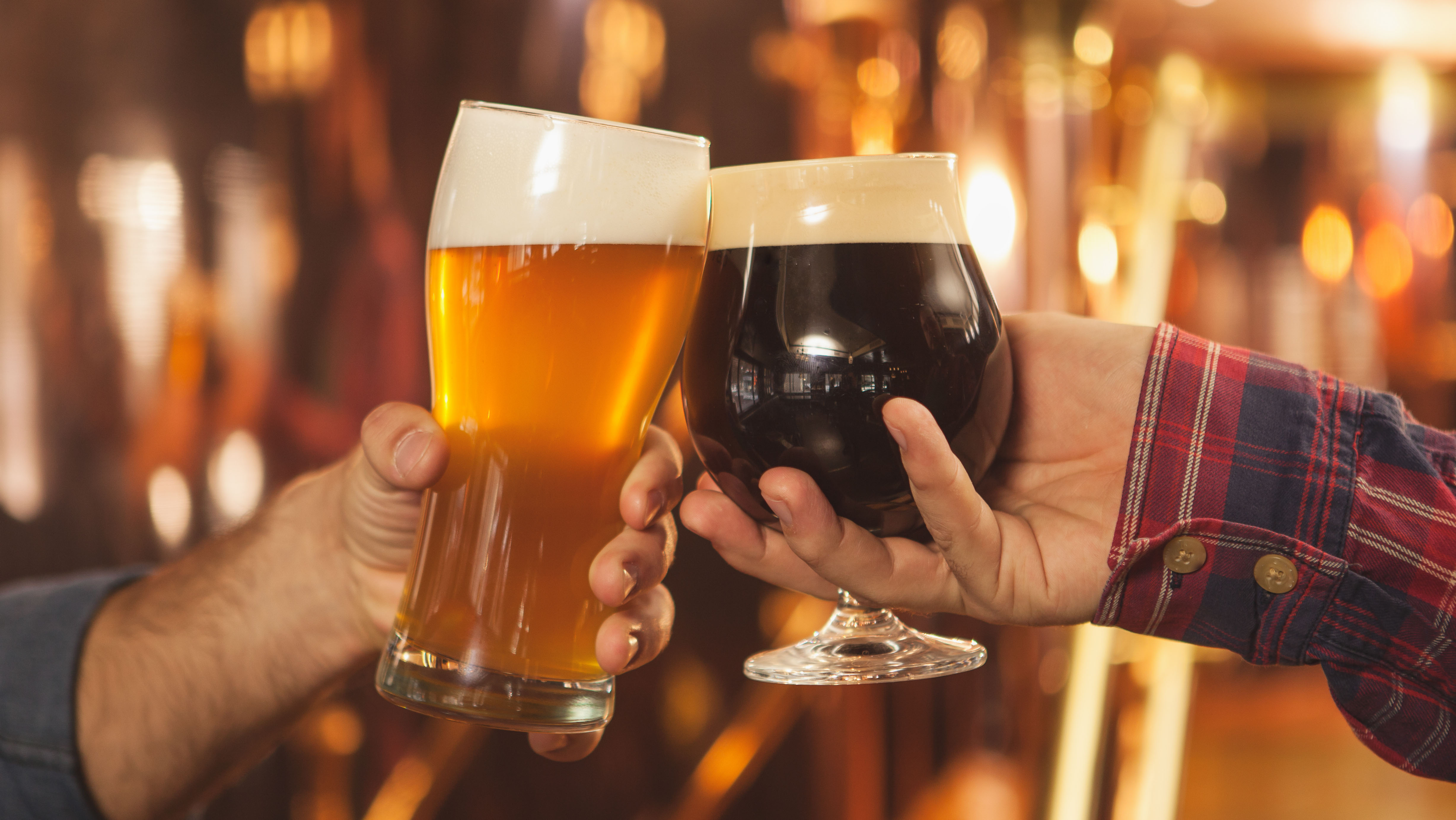 Cropped close up of two men clinking beer glasses together, celebrating at the beer pub. Professional brewers toasting with their beer glasses.