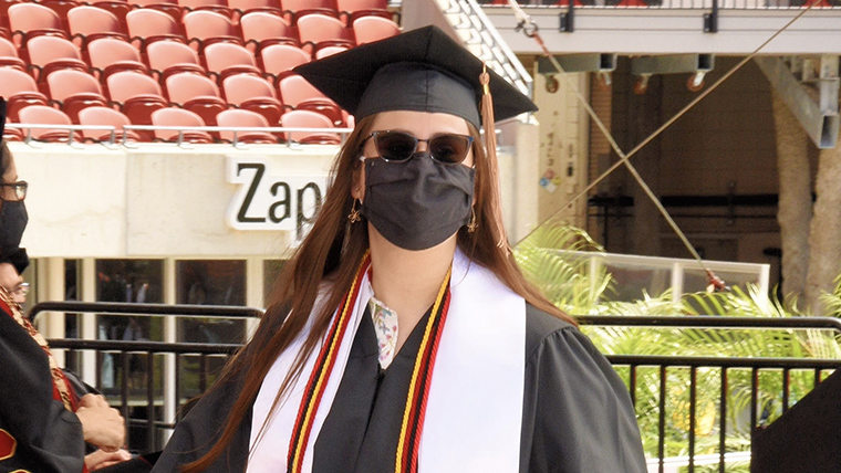 Accountancy Graduate Elyse Portal at Spring 2021 Commencement