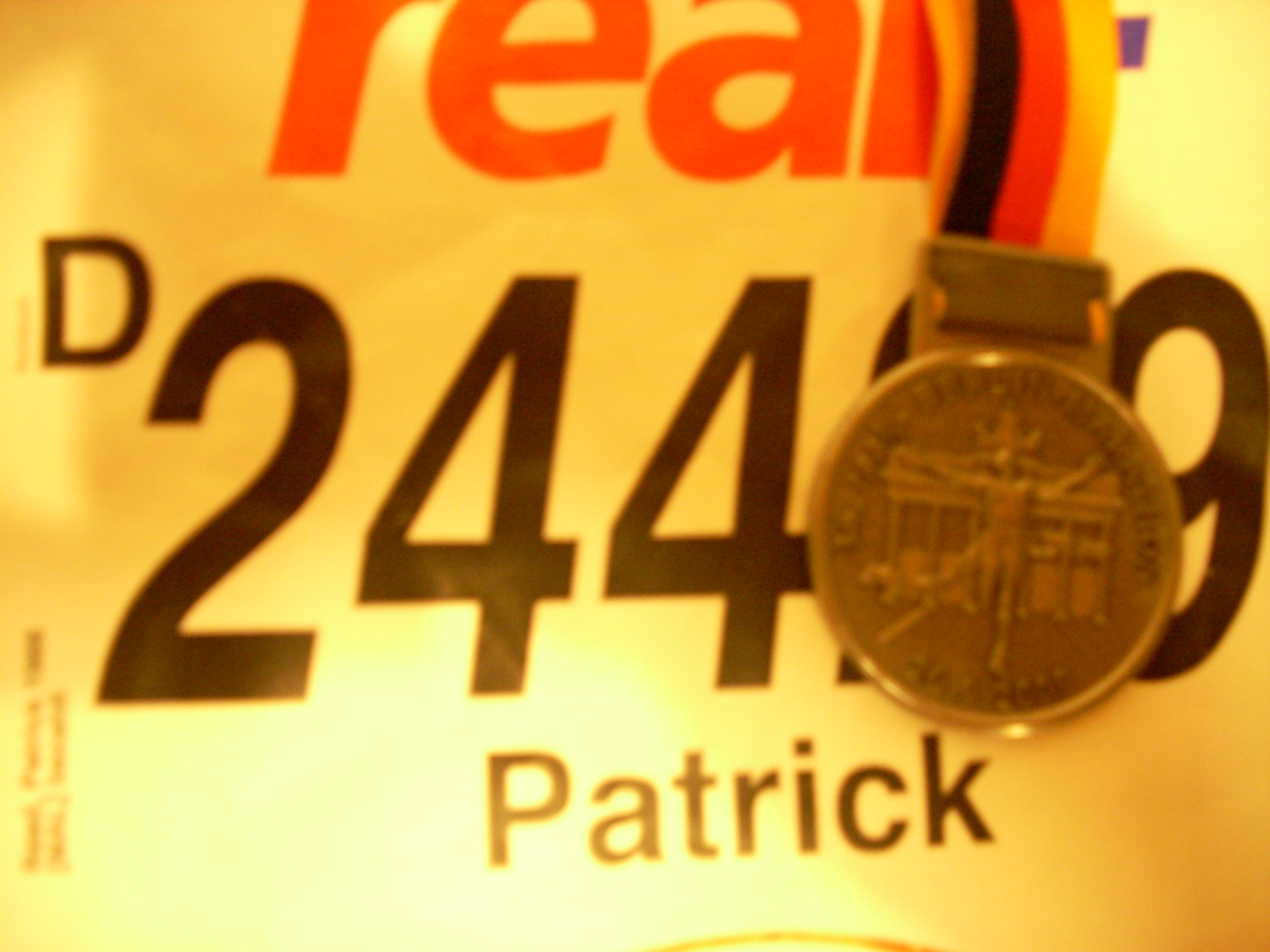 My race number and finisher's medal